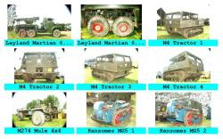 Leyland Martian, M4 Tractor, M274 Mule 4x4, Ransomes MG5 Tractor