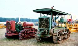 Holt Model 45-25 Tractor right, 1916 and Holt Model 45 left 1917