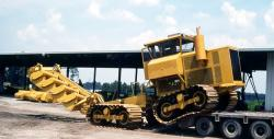 Suokone 450 sod peat cutter PK4 going to bog, 1979
